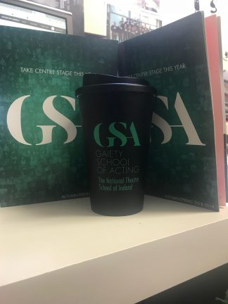 GSA keep cup. Black cup with green logo and quote